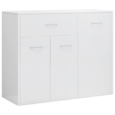 vidaXL kumode, 88x30x70 cm, kokskaidu plātne, spīdīgi balta