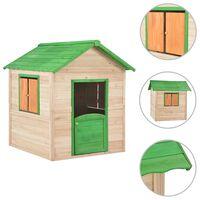 vidaXL bērnu rotaļu māja, zaļas detaļas, egles koks