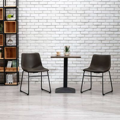 vidaXL virtuves krēsls, tumši brūna mākslīgā āda