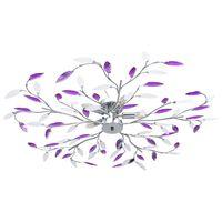 vidaXL griestu lampa, akrila lapiņas, 5 E14 spuldzes, violeta