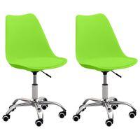 vidaXL biroja krēsli, 2 gab., zaļa mākslīgā āda