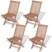 vidaXL saliekami dārza krēsli, 4 gab., masīvs tīkkoks