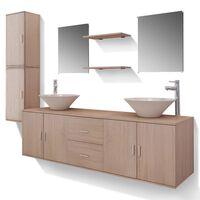 vidaXL vannas istabas mēbeles, izlietnes un krāni, 11 gab., bēšā krāsā