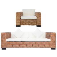 vidaXL divdaļīgs dīvānu komplekts ar matračiem, dabīga rotangpalma