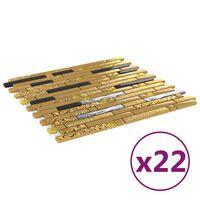 vidaXL mozaīkas flīzes, 22 gab., pašlīmējošas, melnas, zelta, 30x30 cm