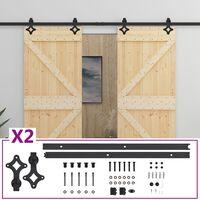 vidaXL bīdāmās durvis ar stiprinājumiem, 100x210 cm, priedes masīvkoks