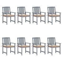 vidaXL dārza krēsli ar spilveniem, 8 gab., akācijas masīvkoks, pelēki