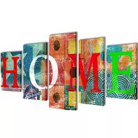 """Modulārā Foto Glezna Krāsaina ar Uzrakstu """"Home"""" 100 x 50 cm"""