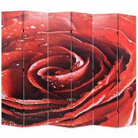 vidaXL istabas aizslietnis, 228x170 cm, saliekams, sarkans ar rozi