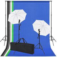 vidaXL fotostudijas komplekts: 5 krāsaini foni un 2 foto lietussargi