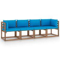 vidaXL 4-vietīgs dārza palešu dīvāns ar matračiem, impregnēta priede