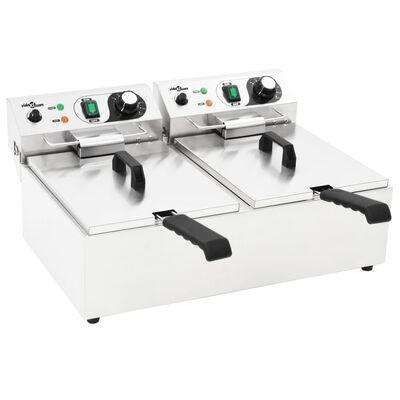 vidaXL elektriskais friteris, 20 L, nerūsējošs tērauds, 6000 W