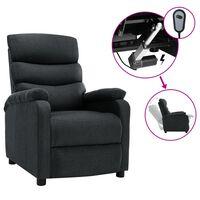 vidaXL elektrisks atpūtas krēsls, atgāžams, tumši pelēks audums