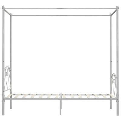 vidaXL gultas rāmis ar nojumi, balts, 120x200 cm, metāls