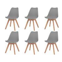 vidaXL virtuves krēsli, 6 gab., pelēka mākslīgā āda