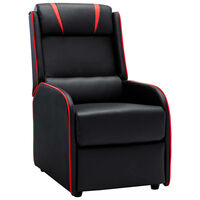 vidaXL atpūtas krēsls, atgāžams, melns ar sarkanu, mākslīgā āda
