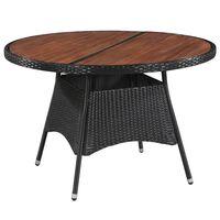 vidaXL dārza galds, 115x74 cm, PE rotangpalma, akācijas masīvkoks