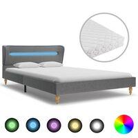 vidaXL gulta ar LED, atmiņas efekta matracis, pelēks audums, 140x200cm