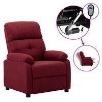 vidaXL elektrisks atpūtas krēsls, atgāžams, vīnsarkans audums