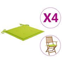 vidaXL dārza krēslu matrači, 4 gab., spilgti zaļš audums, 40x40x4 cm
