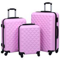 vidaXL cieto koferu komplekts, 3 gab., ABS, rozā
