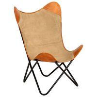 vidaXL tauriņa formas krēsls, brūna dabīgā āda un audums