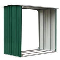 vidaXL malkas nojume, zaļa, 172x91x154 cm, cinkots tērauds