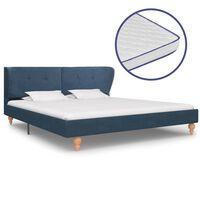 vidaXL gulta ar atmiņas efekta matraci, zils audums, 180x200 cm