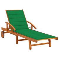 vidaXL dārza sauļošanās zvilnis ar matraci, akācijas masīvkoks