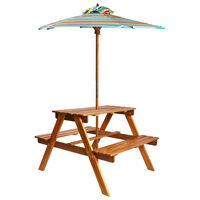 vidaXL bērnu piknika galds ar saulessargu, 79x90x60 cm, akācijas koks
