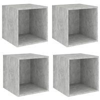 vidaXL sienas plaukti, 4 gab., betonpelēki, 37x37x37 cm, skaidu plātne
