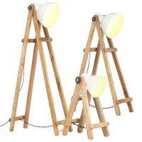 vidaXL grīdas lampas, 3 gab., mango masīvkoks, E27, baltas