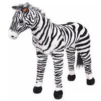 vidaXL rotaļu zebra, balta ar melnu, plīšs, XXL