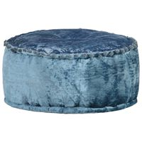 vidaXL apaļš pufs, samts, 40x20 cm, zils