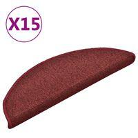 vidaXL kāpņu paklāji, 15 gab., 56x17x3 cm, sarkani
