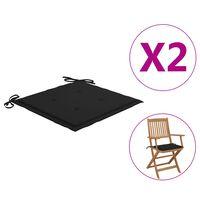 vidaXL dārza krēslu matrači, 2 gab., melns audums, 40x40x4 cm