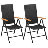 vidaXL dārza krēsli, 2 gab., PE rotangpalma, melni