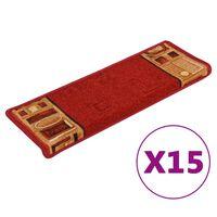 vidaXL kāpņu paklāji, 15 gab., pašlīmējoši, 65x25 cm, sarkani