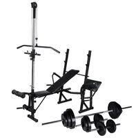 vidaXL treniņu sols ar statīvu, hantelēm un stieni,  30,5 kg