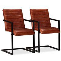 vidaXL virtuves krēsli, 2 gab., brūna dabīgā āda