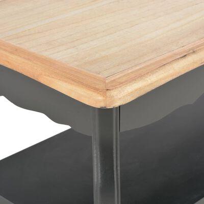 vidaXL kafijas galdiņš, melns ar brūnu, 87,5x42x44 cm, priedes koks