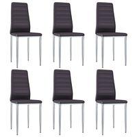vidaXL virtuves krēsli, 6 gab., brūna mākslīgā āda