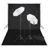 vidaXL fotostudijas komplekts, gaismas, melns fons, 600x300 cm