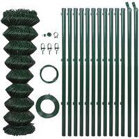 vidaXL stiepļu žogs ar stabiem, tērauds, 1,5x25 m, zaļš