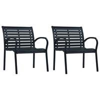 vidaXL dārza krēsli, 2 gab., tērauds un WPC, melni