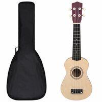 """vidaXL soprāna bērnu ukulele ar somu, gaiša koka krāsā, 21"""""""