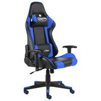 vidaXL datorspēļu krēsls, grozāms, zils, PVC