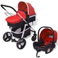vidaXL trīs-vienā bērnu ratiņi, alumīnijs, sarkans ar melnu
