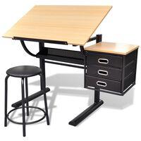 Rasēšanas / Zīmēšanas Galds ar Krēslu un 3 Atvilktnēm