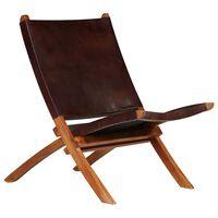 vidaXL saliekams atpūtas krēsls, brūna dabīgā āda